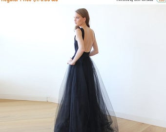 Spring Sale Black open back maxi tulle dress, Low back tulle gown 1086