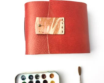 4x5 inch Red Leather Watercolor Journal - ARCHES 140lb Cold Press 72 pages - Marbled Leather - Travel Journal - sketchbook -handmade journal