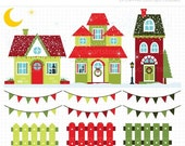 Black Friday Cyber Monday SALE - Clipart - Christmas Houses / Winter House - Digital Clip Art (Instant Download)