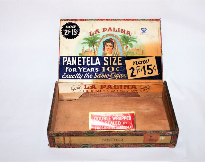 Vintage 1930s LA PALINA Panetela Cigar Box, With Blue NRA Sticker