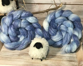 Stormy Skies Spinning Handpainted Roving Panda Base Sw Bamboo Nylon 4 ounce