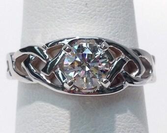 Celtic Diamond Engagement Ring in 14K Gold, Handmade, Original Design