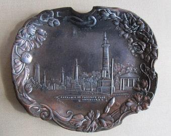 Entrance to Prospect Park Brooklyn, NY Antique Copper Souvenir Metal Plaque c.1905/ Very Rare!