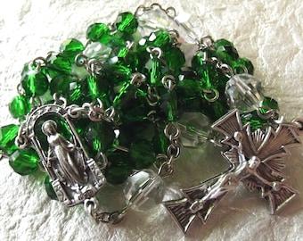 May/Emerald Green Crystal Birthstone Rosary