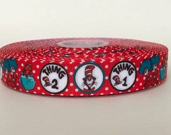 "7/8"" Dr. Seuss Cat In The Hat Thing 1 Thing 2 Grosgrain Ribbon"