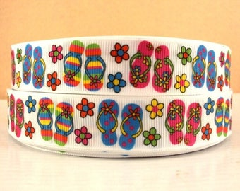 "7/8"" Summer Flip Flops Sandals Flowers Grosgrain Ribbon"