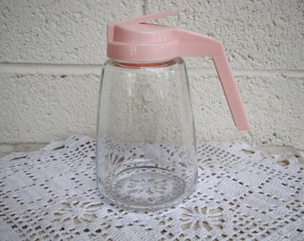 Vintage PINK Glass SYRUP DISPENSER: Diner Style Retro Breakfast Serving Ware by Federal Housewares, Chicago Ill
