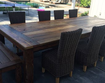 Reclaimed Wood Outdoor Table and Benches - custom sizes available