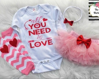 All You Need Is Love Tutu Bloomers Outfit, Valentine's Day, Love Sequin Bow Glitter Baby Outfit Bling Outfit