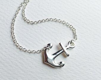 """All Sterling Sideways Anchor Necklace, 16"""" , 17"""" inch, nautical, sideways, marine, spiritual"""