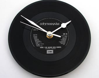 "WHITESNAKE Clock ""Here I Go Again"" Vinyl Record Clock 7"" single Retro recycled cool Hard Rock Heavy Metal unique gift men boys black silver"