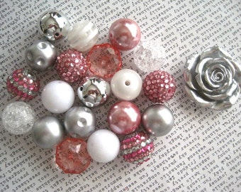 Bubblegum Bead Necklace Kit, Pale Pink, White and Silver Beads, Metallic Beads, Bead Kit, Necklace Kit, DIY Necklaces, All Hardware Included