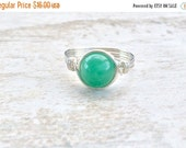 Black Friday Sale Green Aventurine Wire Wrapped Ring, Aventurine Gemstone Ring, Sterling Silver Filled Ring, Any Size
