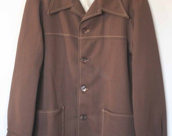 vintage brown polyester leisure jacket by farah time out