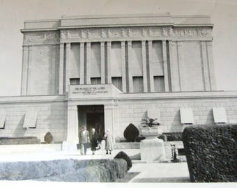 Old B&W LDS Temple Photograph, Perhaps Mesa?  Approximately 1940's or Perhaps Earlier