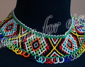 Colorful sylyanka-collar in Ukrainian ethno style