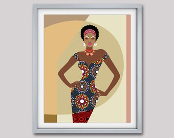 African  Artwork, African Painting, African Woman, African Wall Decor, African Wax Fabric, South African Art, African Shop Print