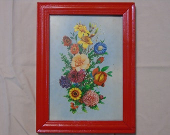 Vintage floral  print bright red frame 6 by 8 inches f. osborne