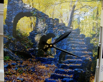 "Clock - 12"" x 12"" on Metal - Madame Sherri Castle Ruins, Chesterfield, NH"