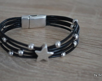 Leather Bracelet with star and beads