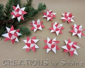 Christmas Ornaments, Paper Stars Set of 10 Moravian German Froebel Danish Swedish Polish Origami red white Holiday Decor READY TO SHIP (129)