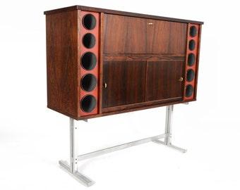 Danish Modern Poul Heltborg Rosewood Free Standing Dry Bar
