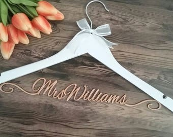 Elegant wedding hanger; personalised coat hanger; Bride coat hanger; laser cut hanger; wedding hanger; gift for bride; bride gift; bridal, 2