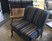 Traditional Queen Anne Style Upholstered Club Chairs, Pair