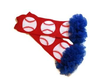 Baseball Leg Warmers with Ruffle, CHOOSE Your RUFFLE Color, Girls Baseball Leg Warmers, Baby Baseball Leg Warmers, World Series, MLB