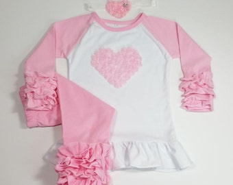 5 COLORS Icing Ruffle Heart Outfit, Raglan Heart Shirt Matching Heart Headband and Icing Ruffle Pants, Triple Ruffle Set, Valentine Outfit