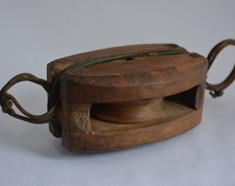 Antique solid wood pulley, Japanese block