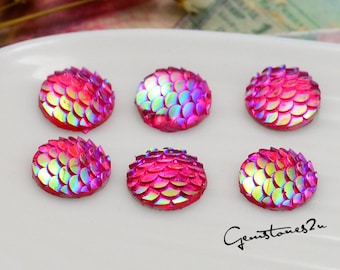 20pcs 12mm Mermaid Cabochons Iridescent Mermaid Cabochon Fish Scale Dragon Snake Skin Cabochons,Resin Round Cabochons NL6