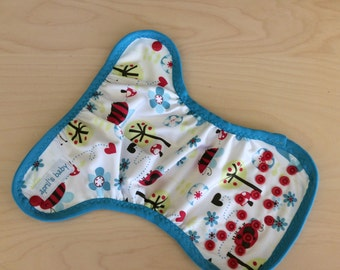 Newborn waterproof PUL cloth diaper cover - birds and bees