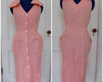 Vintage Pink L'Entourage Bow Button Down Wiggle Dress