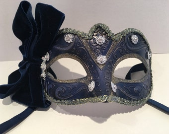 Navy Mask- Bow Mask- Womens Mask- Masquerade Mask- Costume party mask- Purim- Masquerade Ball- Mardi Gras Mask-Masked Ball- Ladies Mask