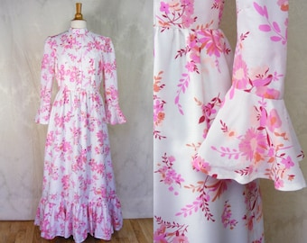 Vintage 1970s Edwardian Style Floral Maxi Dress - White and Pink Dress Bell Sleeves - Bloomsday - My Fair Lady (small medium)
