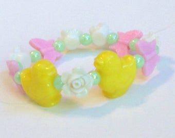 Spring Garden - Yellow Chick and Pastel Butterfly and Rose Stretch Bracelet with Iridescent Green Beads