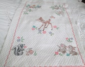 Vintage hand made baby quilt, cross stitch Embroidered, hand made green yellow pink blue red pastels,   Baby Vintage  Blanket baby animals