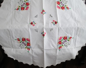 vintage NOS  embroidered colorful tablecloth, vintage cotton round  lace trim cotton cottage table cover ,shabby chic linens by  herminas