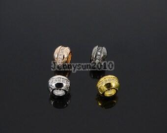 Single Row Zircon Gemstone Pave Wheel Beads Bracelet Connector Charm Beads Silver Gold Rose Gold Gunmetal