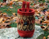 Chalk Bag, Hand-Stitched, Durable, Oversized Rock Climbing Chalkbag, Colors of Autumn Reg, Gold, and Blue, Tequila Sunrise Pattern