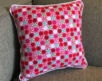 """Candy Pillow in Pink, Red and Teal - """"Peppermintyrific!"""""""