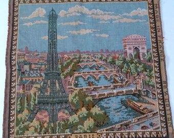 Paris Tapestry Eiffel Tower Seine River Vintage