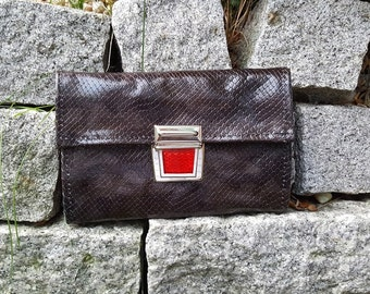 KUHIE® - leather purse / clutch in black with reptile embossing and Red folder Castle