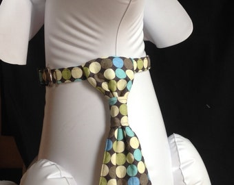 Dog Collar Neck Tie Set - Green/Blue Polka Dots - Size XS, S, M, L, XL