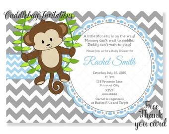 Blue Grey Monkey Baby Boy Shower Invitation | Monkey Boy Baby Shower Invite | Jungle Baby Shower Invite  | Little Monkey Shower Invitation