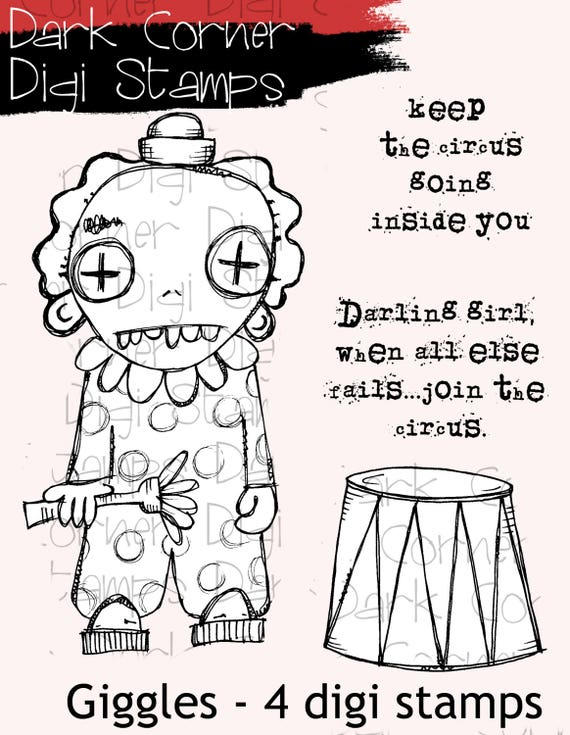 Giggles - creepy cute zombie clown digi stamp set - 4 images in jpg and png files