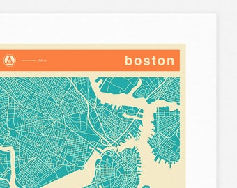 BOSTON MAP (Giclée Fine Art Print, Photographic Print or Poster Print) colored version