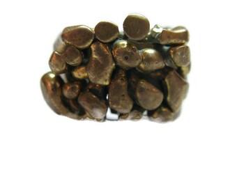 vintage handmade men's brass ring, brutalist style, size 10-1/2