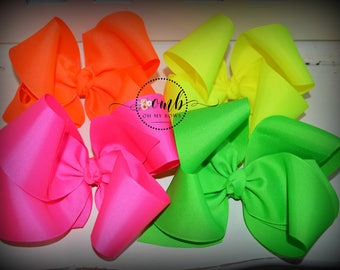 Jumbo Neon Twist Style Bow Bundle - Hairbow - Hair Bow - Pink Bow - Green Bow - Orange Bow - Yellow Bow - Neon Bows - Jumbo Bows